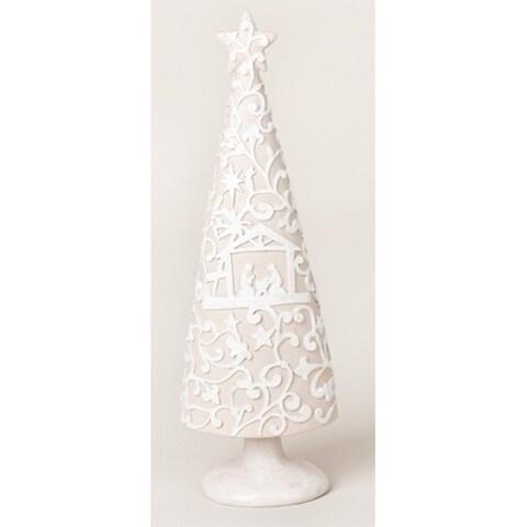 "9.5"" Embellished Winter White Papercut Nativity Scene Christmas Tree Figure"