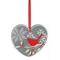 """6""""  Alpine Chic Gray  Red and Cream Bird on Branch Wooden Heart Christmas Ornament"""