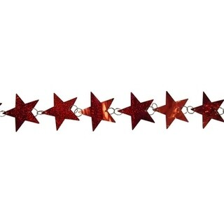6' Holographic Red Star Shaped Christmas Garland - Unlit