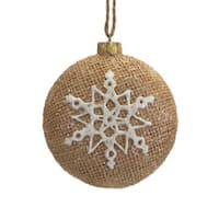 "3.25"" Silent Luxury Brown Burlap Christmas Ornament with Glittered Snowflake Design"