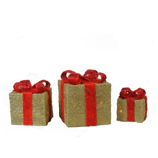 Set of 3 Lighted Sparkling Gold Sisal Gift Boxes Christmas Yard Art Decorations