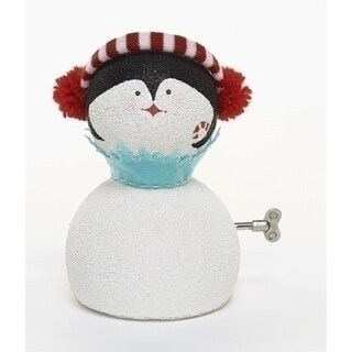 """8.75"""" Happy Holidays Animated Musical Penguin Face Christmas Figure"""