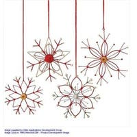 "6.5"" Alpine Chic Tan  White and Red Country Rustic Style Snowflake Christmas Ornament"