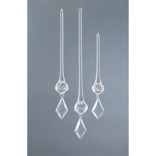 Set of 3 Rustic Fire Crystal Kite Drop Christmas Ornaments
