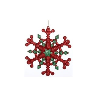 """5"""" Festive Green and Red Glitter Six Pointed Star Snowflake Christmas Ornament"""
