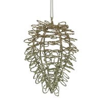 """4.75"""" Silent Luxury Gold Glitter Drenched Twisted Acorn Christmas Ornament"""