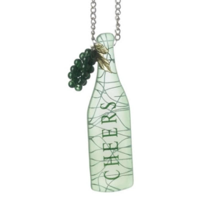 "Midwest Tuscan Winery ""cheers"" Green Wine Bottle with Gra..."