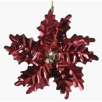 "6"" Holiday Cheer Red Poinsettia with Gold Bells Christmas Ornament"