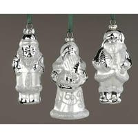 Club Pack of 12 Silver Splendor Santa Claus Glass Christmas Ornaments