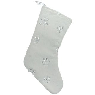 "18"" Winter's Beauty White Christmas Stocking with Silver Sequined Snowflakes"