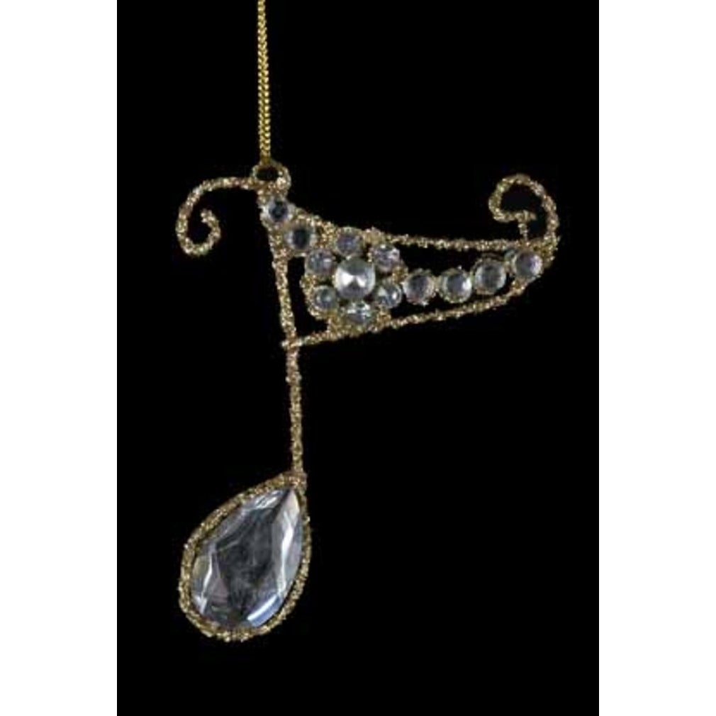 "Kurt S. Adler 4"" Gold Glittered Musical Eighth Note with ..."