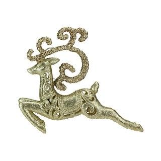 Seasons of Elegance Gold Leaping Reindeer Christmas Ornament
