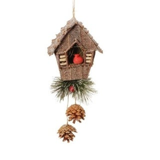 "7.5"" In the Birches Birdhouse and Red Cardinal Christmas Ornament"
