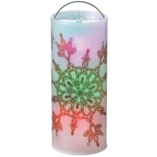 "12"" Batter Operated Transparent Art Deco Snowflake LED Color Changing Lighted Christmas Lantern"