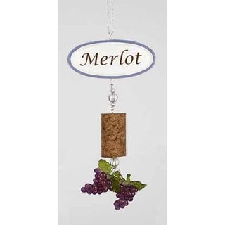 "5.5"" Tuscan Winery Merlot Sign with Cork and Grapes Dangle Christmas Ornament"