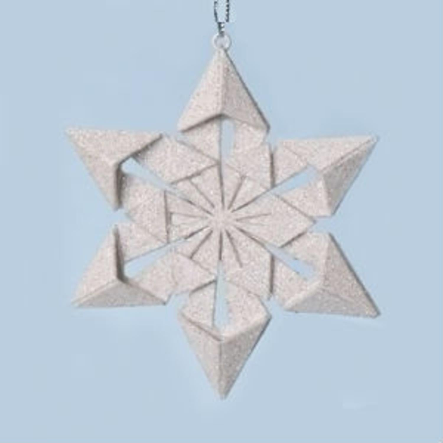 "Roman 4"" Holy Night Origami Style Star Point Glittered Sn..."