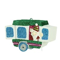 """4.25"""" Santa Waving from a Glitter Drenched Vacation Camper Decorative Christmas Ornament"""