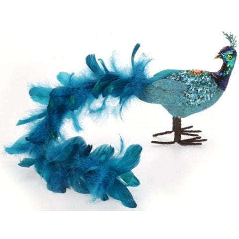 "24"" Regal Peacock Flowing Bondi Blue Closed-Tail Bird Christmas Table Top Decoration"