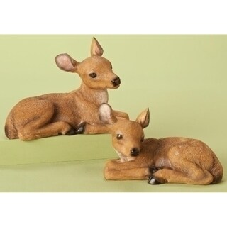 Set of 2 Winter Woods Resting Fawn Deer Christmas Table Top Figures 6.5""