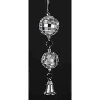 "5"" Seasons of Elegance Mirror Disco Balls with Bell Christmas Ornament"