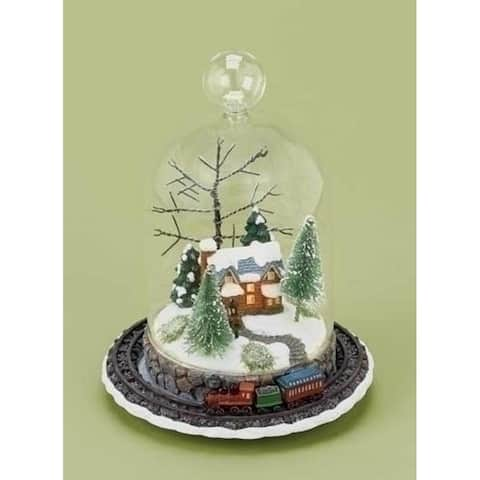 """8"""" LED Lighted Rotating Train and Winter Scene Christmas Table Top Decoration"""