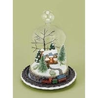 "8"" LED Lighted Rotating Train and Winter Scene Christmas Table Top Decoration"