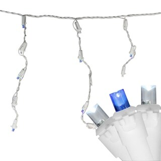 Set of 100 Blue & Pure White LED Wide Angle Icicle Christmas Lights - White Wire