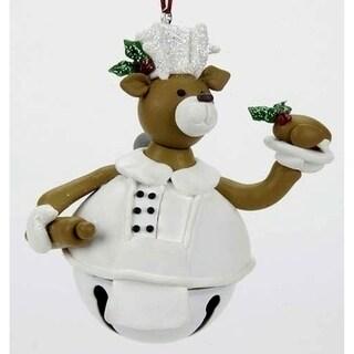 "3.5"" Chef Cook Baker Deer Jingle Bell Christmas Ornament #24782"