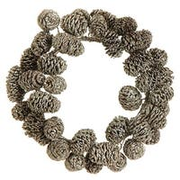 """6"""" Metallic Gold Frosted and Glittered Pinecone Christmas Pillar Candle Ring"""
