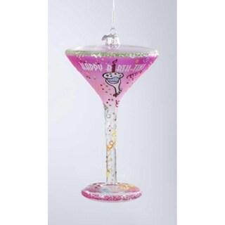 "Happy Hour Blown Glass ""Happy Birth-Tini"" Martini Cocktail Christmas Ornament"