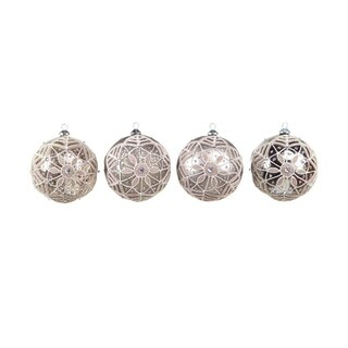 Set of 4 Neutral Warmth Silver/Sequin/Glitter Glass Ball Christmas Ornaments 5""
