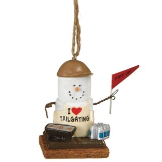 "2.75"" S'mores Tailgating Grillmaster Holding a ""Fire Up!"" Flag Decorative Christmas Ornament"