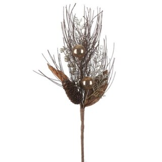 """19"""" Gold and Brown Berry Leaf and Pine Cone Artificial Christmas Pine Spray"""