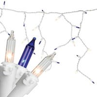 """Set of 100 Blue & Clear Mini Icicle Christmas Lights 3"""" Spacing - White Wire"""