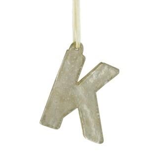 "4"" Antique-Style Speckled Glass Monogram Letter ""K"" Christmas Ornament"