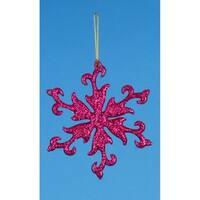 """4.75"""" Vibrant Fuchsia Pink Glittered Snowflake Christmas Ornament"""