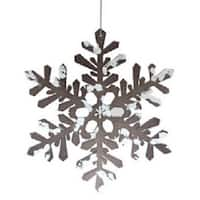 "8"" Snowy Winter Glitter Tipped Brown and White Snowflake Decorative Christmas Ornament"