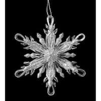 "4.5"" Icy Crystal Silver Glitter Snowflake with Looped Tips Christmas Ornament"