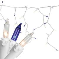 """Set of 150 Blue & Clear Mini Icicle Christmas Lights 3"""" Spacing - White Wire"""