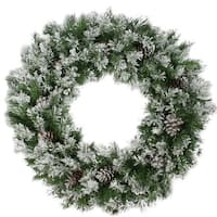 "36"" Flocked Angel Pine with Pine Cones Artificial Christmas Wreath"