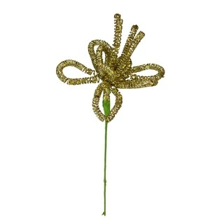 Sugared Fruit Large Gold Glittered Wire Floral Christmas Craft Pick 14""
