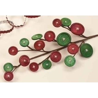 "18"" Sweet Memories Red and Green Wooden Button Christmas Craft Pick"