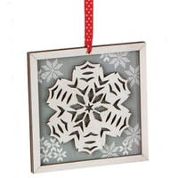 "5"" Alpine Chic Country Rustic Style Silver and White Glittered Snowflake Framed  Christmas Ornament"