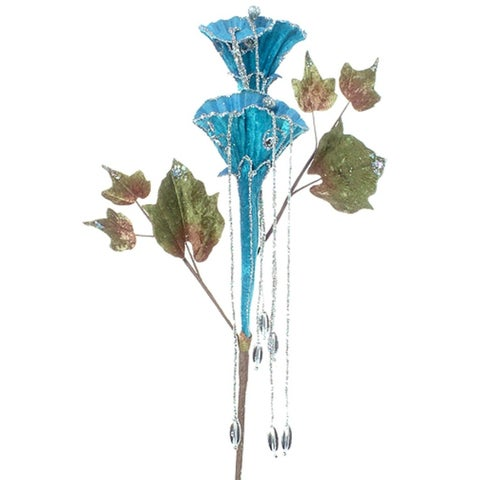 "20"" Blue & Silver Glittered Trumpet Flower Christmas Spray"