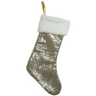 "18"" Gilded White Christmas Gold Sequined Stocking with White Cuff"