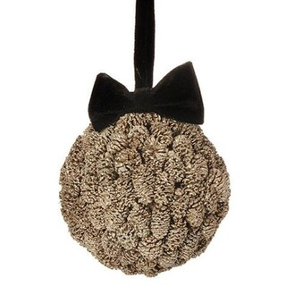 """5"""" Gold Metallic Pine Cone Ball with Black Bow Christmas Ornament"""