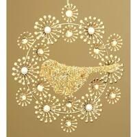 Winter's Beauty Beaded Gold Wreath with Bird Christmas Ornament