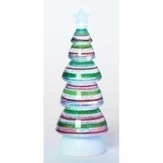 "11.25"" Battery Operated LED Lighted Red and Green Swirl Striped Christmas Tree Glitterdome"