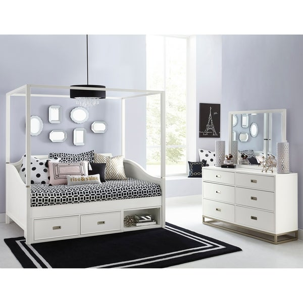 Superb Hillsdale Tinley Park Full Canopy Daybed With Storage Drawer, Soft White