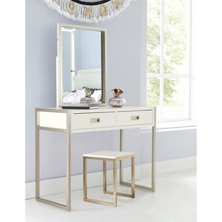 Hillsdale Tinely Park Desk, Vanity Mirror & Stool, Soft White